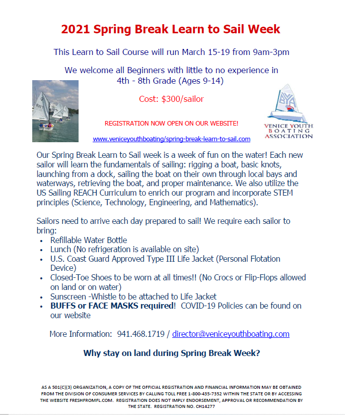 Venice Youth Boating Association - Spring Break Learn to Sail